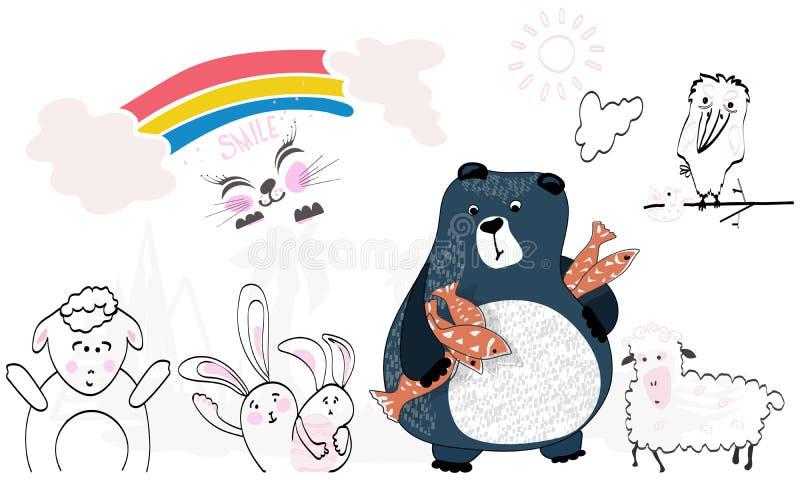 Tiere von den Karikaturen Bär, Krähe, Kaninchen, Schafe Regenbogen, Sonne, Wolken stock abbildung
