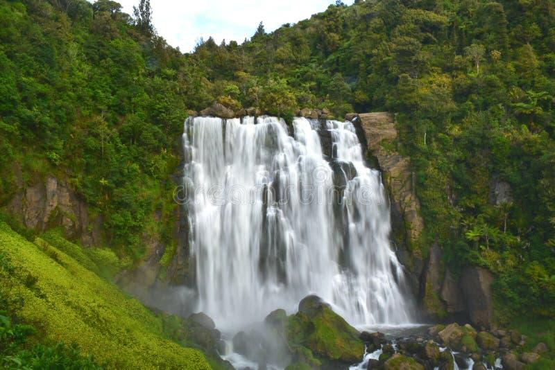 Tiered водопад на Marokopa, Waitomo стоковое фото