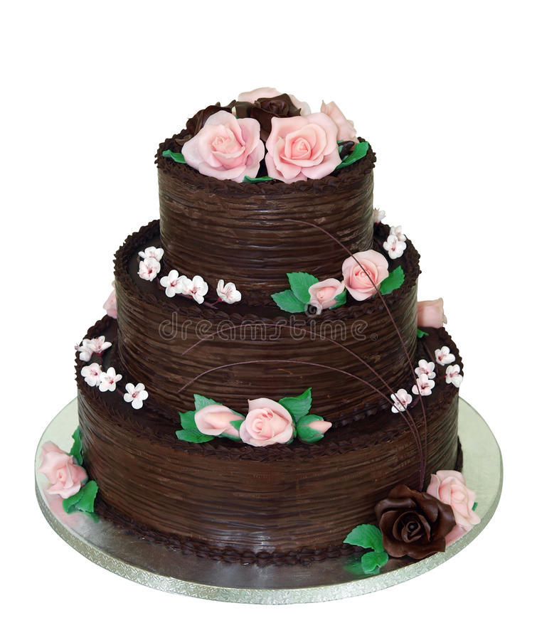Tiered Cake van Chocolade drie royalty-vrije stock foto's