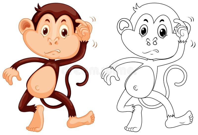 Tierentwurf für kleinen Affen lizenzfreie abbildung