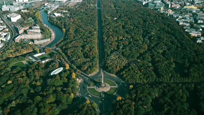 The Tiergarten Park and the Victory Column roundabout traffic. Aerial view of Berlin, Germany. The Tiergarten Park and the Victory Column roundabout traffic royalty free stock photos