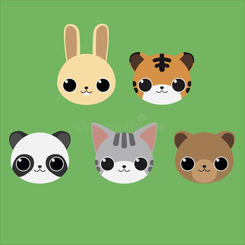 Tiergesichter der netten Karikatur: Kaninchen, Tiger, Bär, Panda und Katze lizenzfreie abbildung