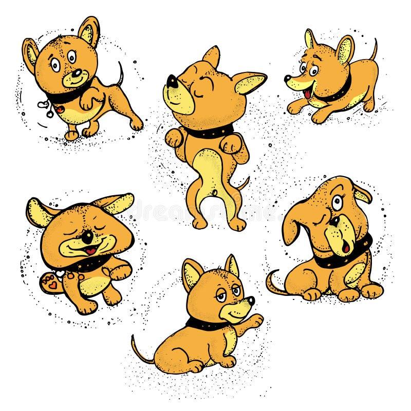 Tierikonen Verfolgt Karikatur mit verschiedenen Gefühlen Vektor stock abbildung