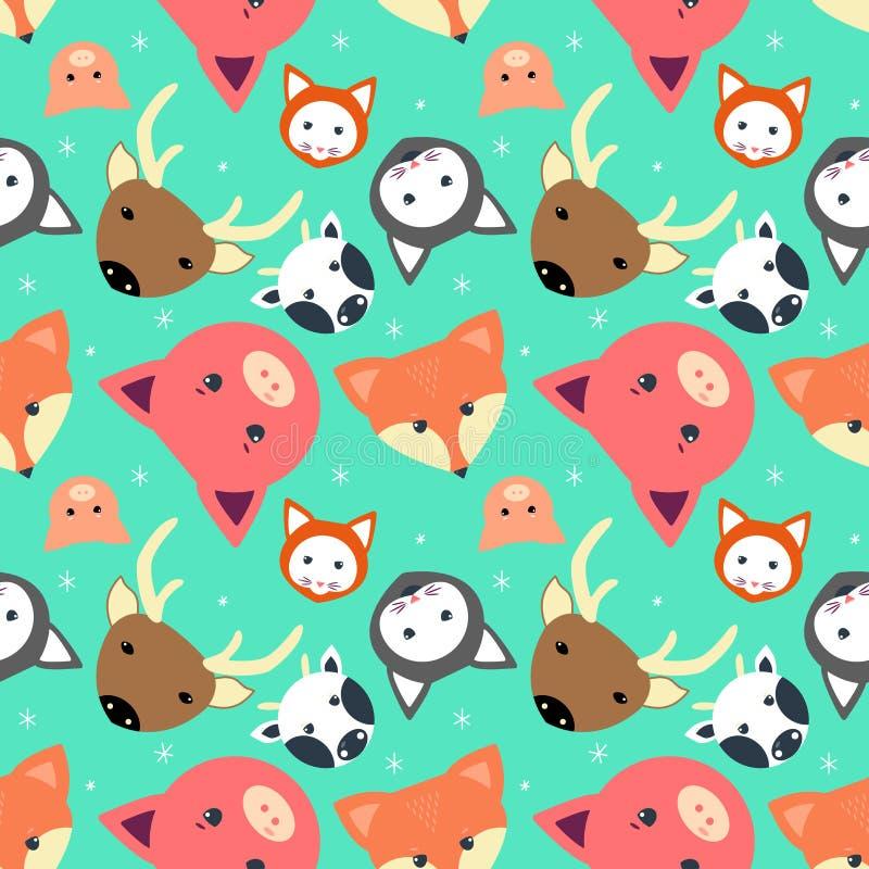 Tierisches nahtloses Muster mit Kuh, Fuchs Katze lieb, Schwein im flachen Entwurf vektor abbildung