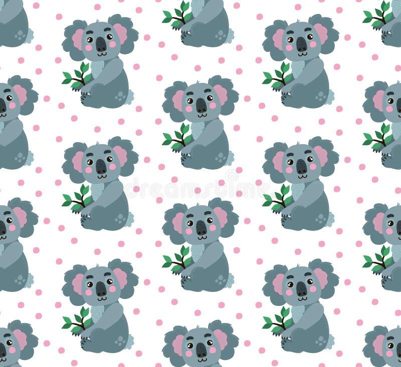 Tierisches nahtloses Vektormuster des Koala vektor abbildung
