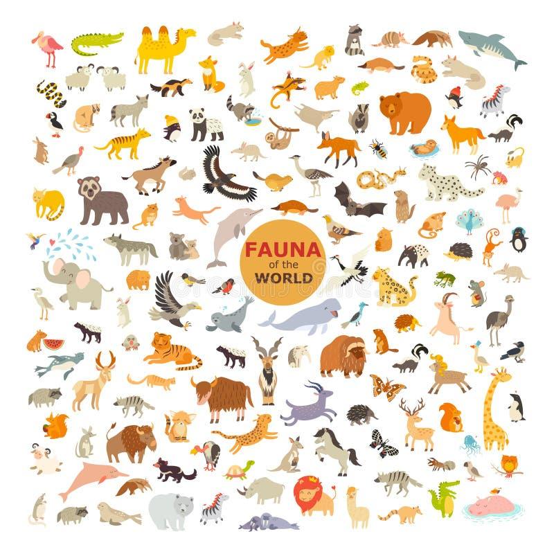 Tierkarikatur-Vektor-Illustration Faunaikonensatz stock abbildung