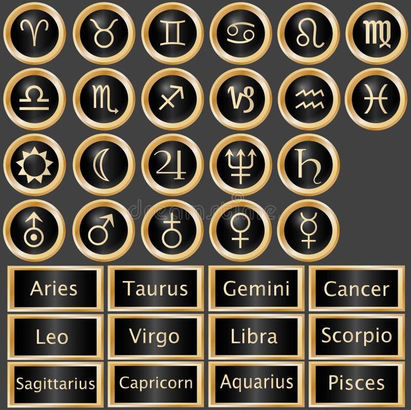 Tierkreis-Astrologie-Web-Tasten lizenzfreie abbildung