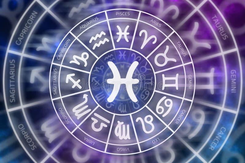 Tierkreis-Fisch-Symbol nach innen des Horoskopkreises lizenzfreie abbildung