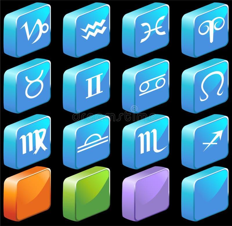 Tierkreis-Horoskop-Ikonen - Quadrat stock abbildung