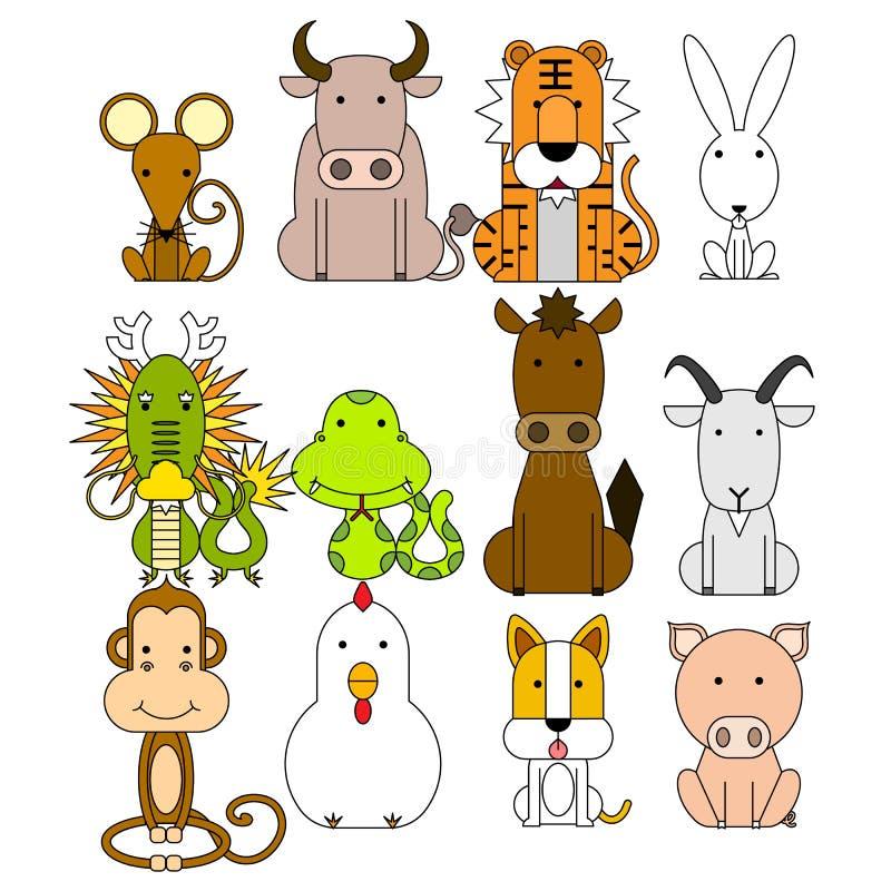 Tierkreis-Ikonensatz mit 12 Chinesen stock abbildung