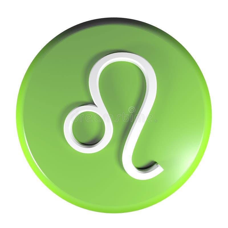 TIERKREIS-LÖWE-IKONEN-Grün-Kreisdruckknopf - Illustration der Wiedergabe 3D lizenzfreie abbildung