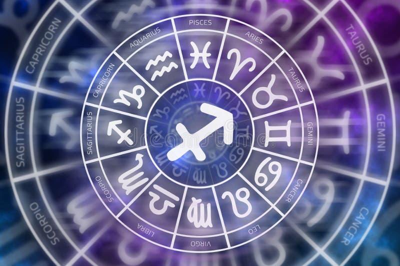 Tierkreis-Schützesymbol nach innen des Horoskopkreises vektor abbildung