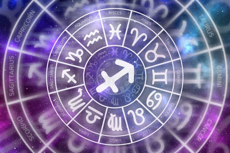 Tierkreis-Schützesymbol nach innen des Horoskopkreises lizenzfreie abbildung