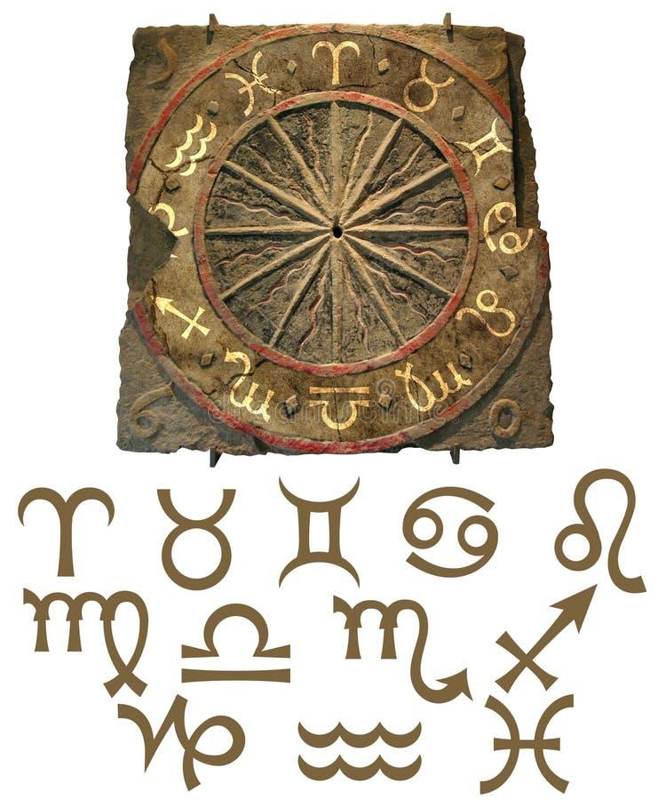 Tierkreis-Steintablet mit Symbolen lizenzfreie abbildung