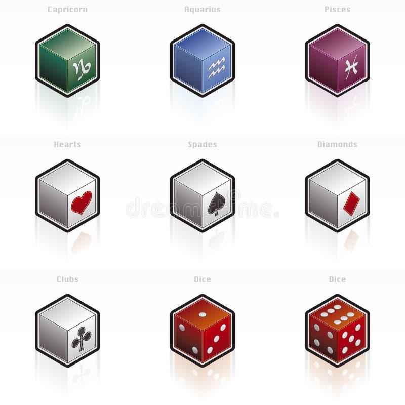 Tierkreis-u. Spiel-Ikone gesetztes 58L stock abbildung