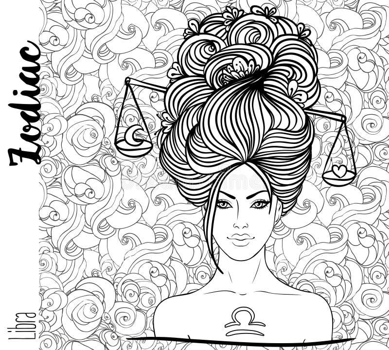 Tierkreis: Waagesternzeichen als schönes Mädchen Vektorkunst mit p lizenzfreie abbildung
