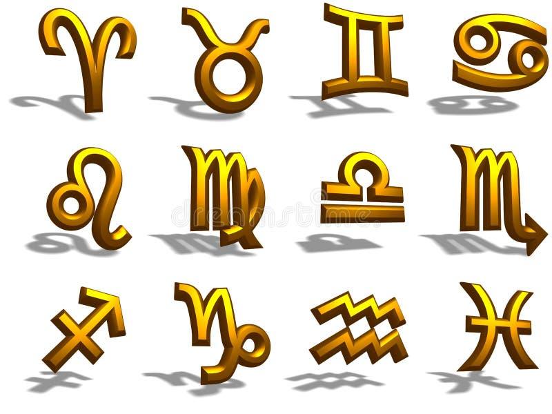 Tierkreis-Zeichen des Gold3d lizenzfreie stockfotos