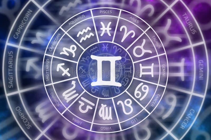 Tierkreis-Zwillingssymbol nach innen des Horoskopkreises stock abbildung