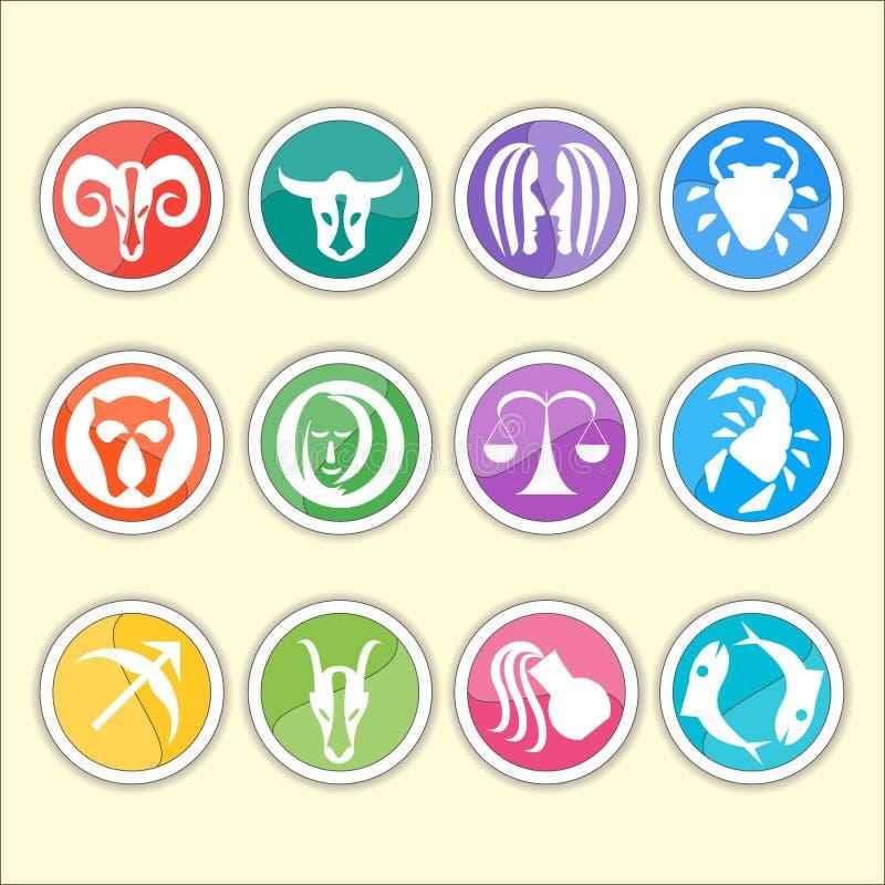 Tierkreissymbole Verdünnen Sie flach Satz der einfachen Runde stock abbildung