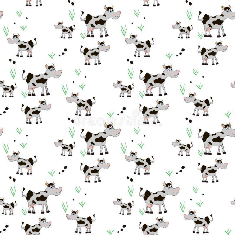 Tierkuhkarikatur, nahtloser Musterhintergrund der Karikatur lizenzfreie abbildung