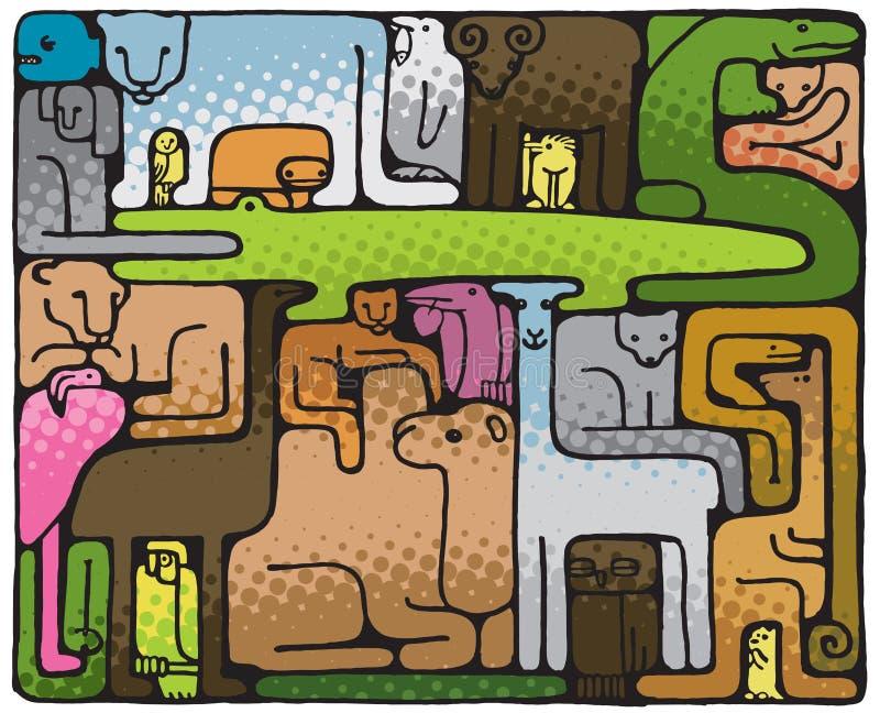 Tierpuzzlespiel (Abbildung) lizenzfreie abbildung