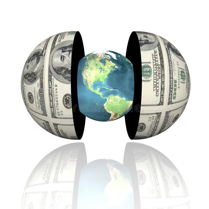 tierra 3d en hemisferios con dólar textura stock de ilustración