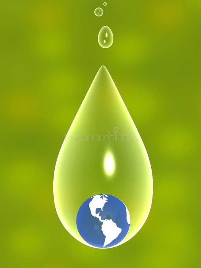 tierra 3d en una gota transparente del agua libre illustration
