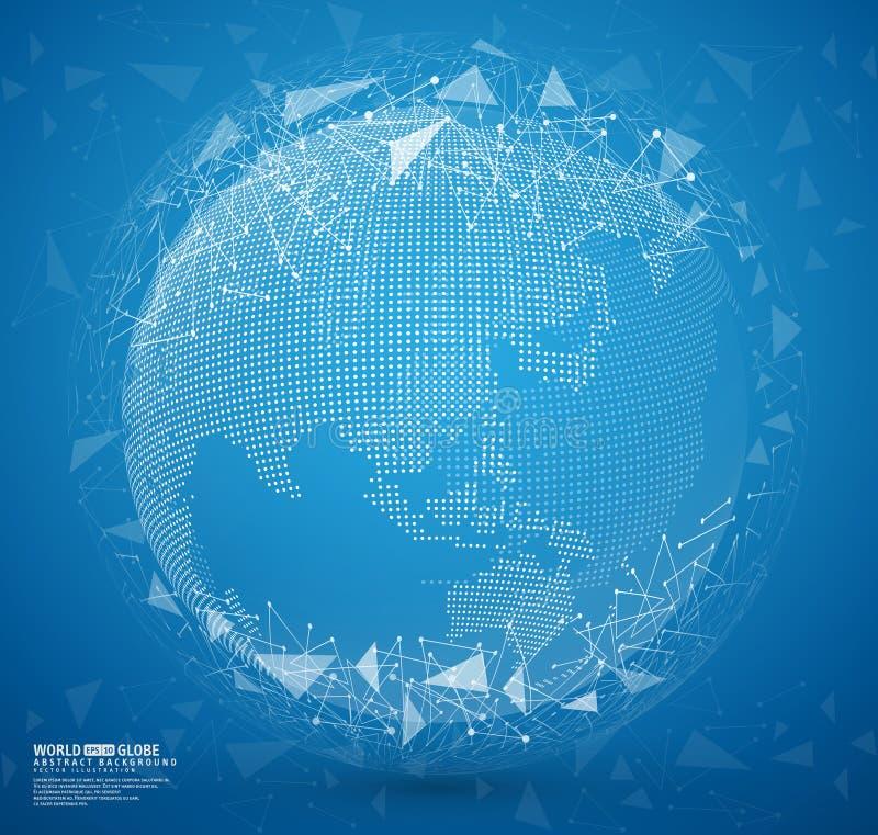 Tierra abstracta azul del globo con los puntos y las líneas de conexión ilustración del vector