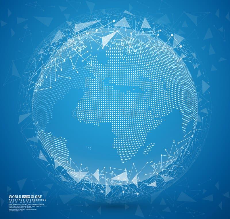 Tierra abstracta azul del globo con los puntos y las líneas de conexión libre illustration