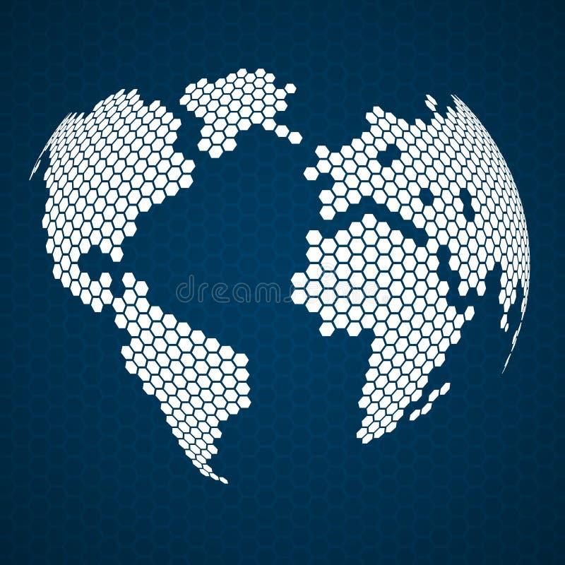 Tierra abstracta del globo de hexágonos stock de ilustración