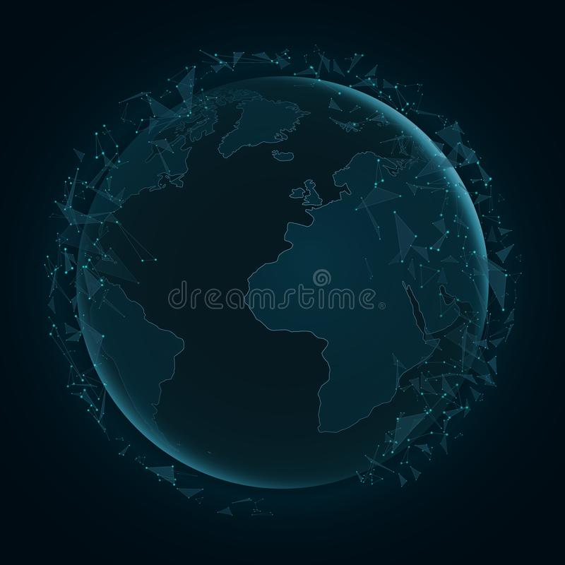 Tierra abstracta del planeta con los triángulos del vuelo Correspondencia de mundo Luces azules Ciencia ficción y de alta tecnolo ilustración del vector