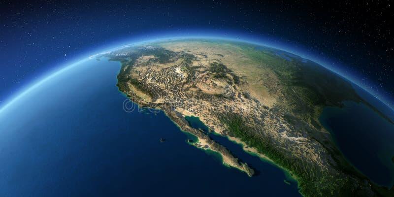Tierra altamente detallada El golfo de California, M?xico y los estados de los E S estados stock de ilustración