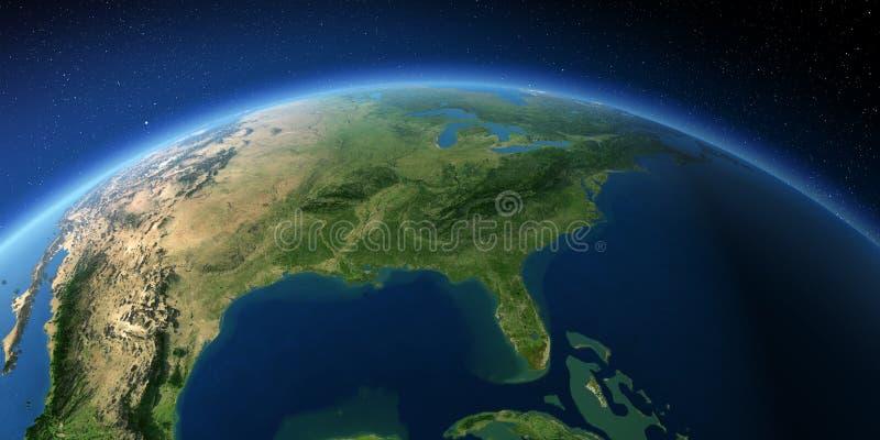 Tierra altamente detallada El Golfo de M?xico y la Florida ilustración del vector