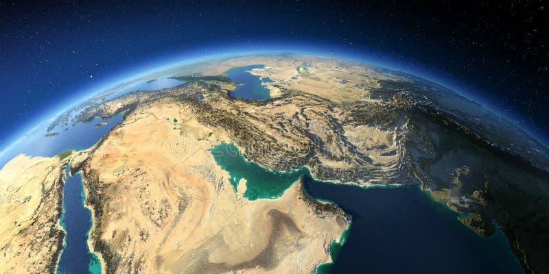 Tierra altamente detallada Golfo P?rsico stock de ilustración