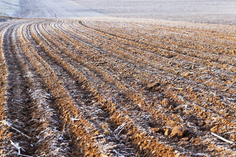 Tierra arada, helada imagen de archivo libre de regalías