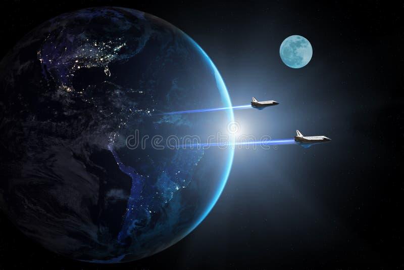Tierra azul del planeta Transbordadores espaciales que sacan en una misión ilustración del vector
