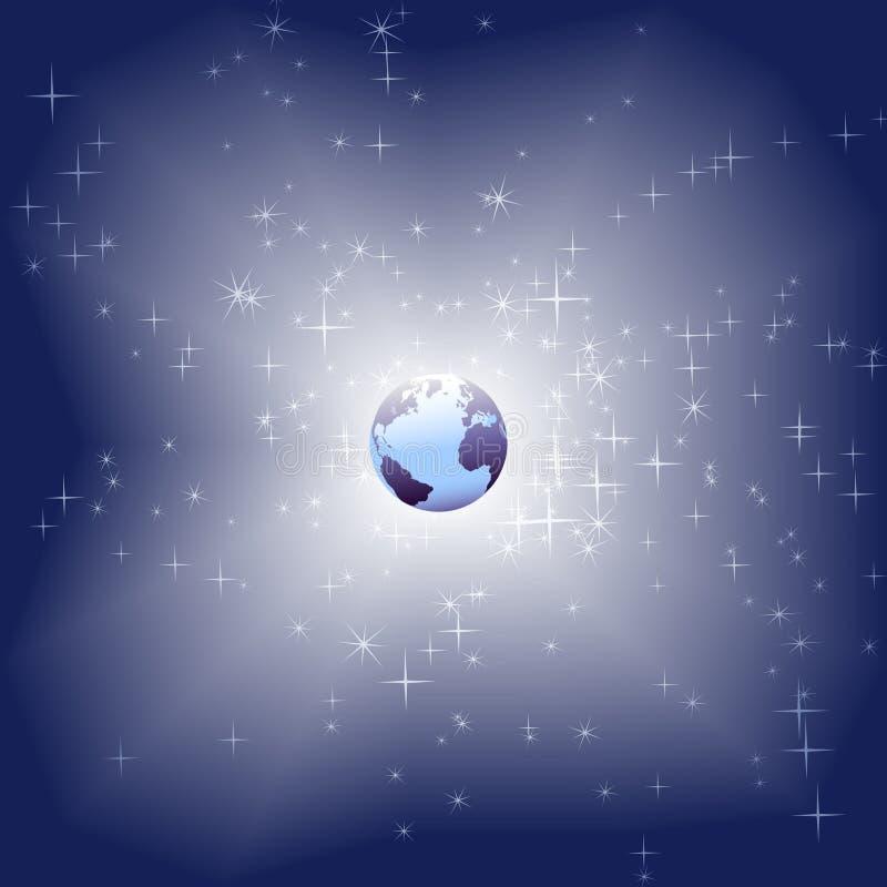 Tierra azul en fondo brillante del espacio de la chispa de la estrella stock de ilustración