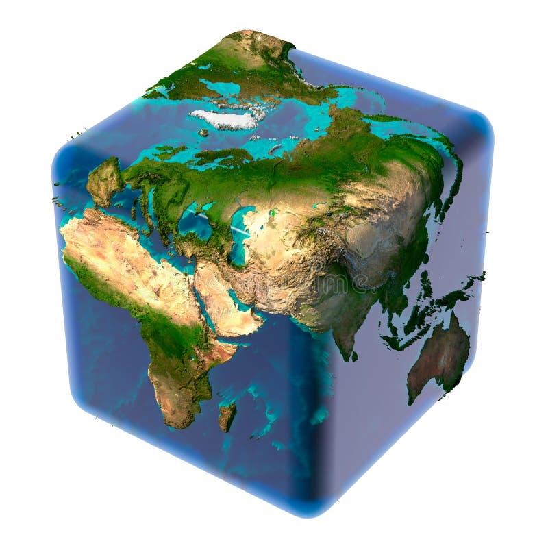 Tierra cúbica con el océano translúcido libre illustration