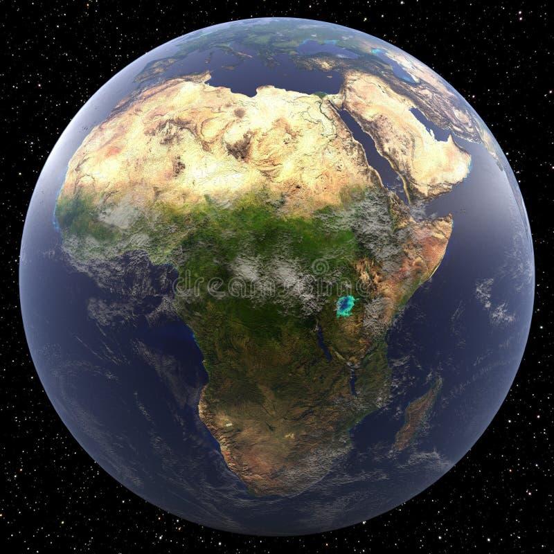 Tierra centrada en África ilustración del vector