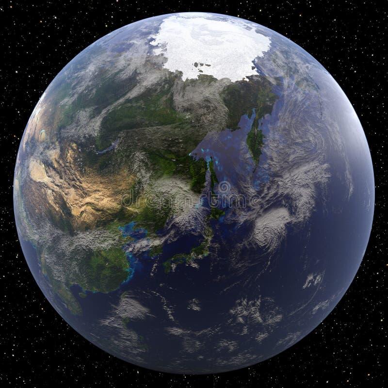 Tierra centrada en el Extremo Oriente ilustración del vector