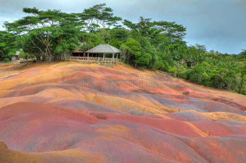Tierra coloreada, Chamarel, Mauricio foto de archivo