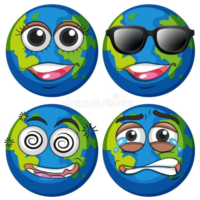 Tierra con cuatro emociones libre illustration