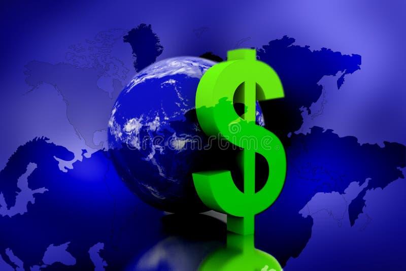 Tierra con el dólar ilustración del vector