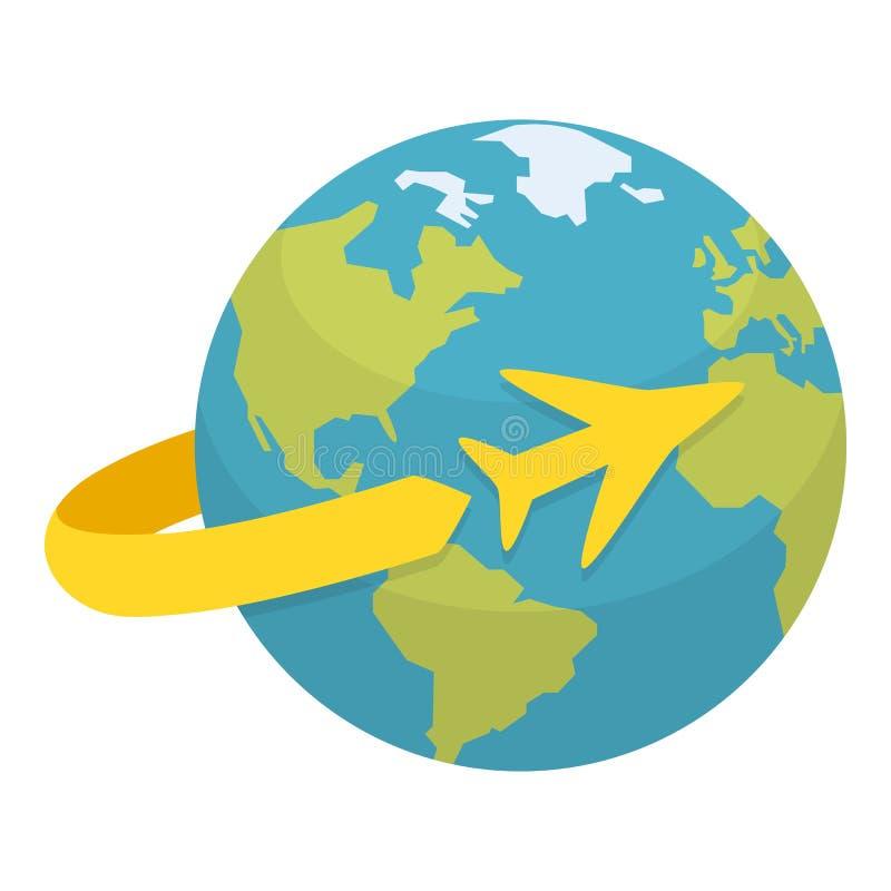 Tierra con el icono del concepto del aeroplano que viaja ilustración del vector