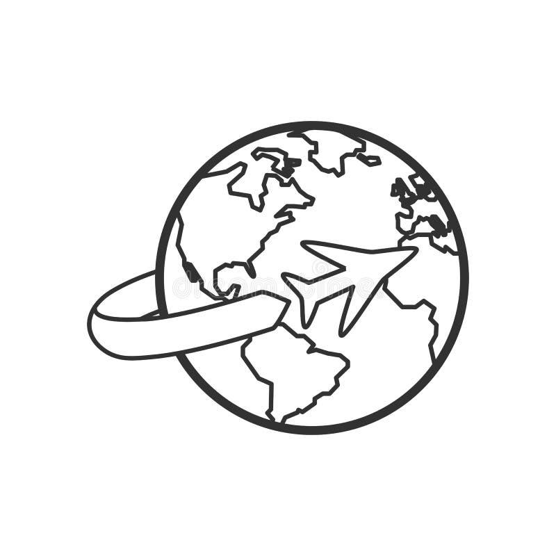 Tierra con el icono plano del esquema del aeroplano en blanco ilustración del vector