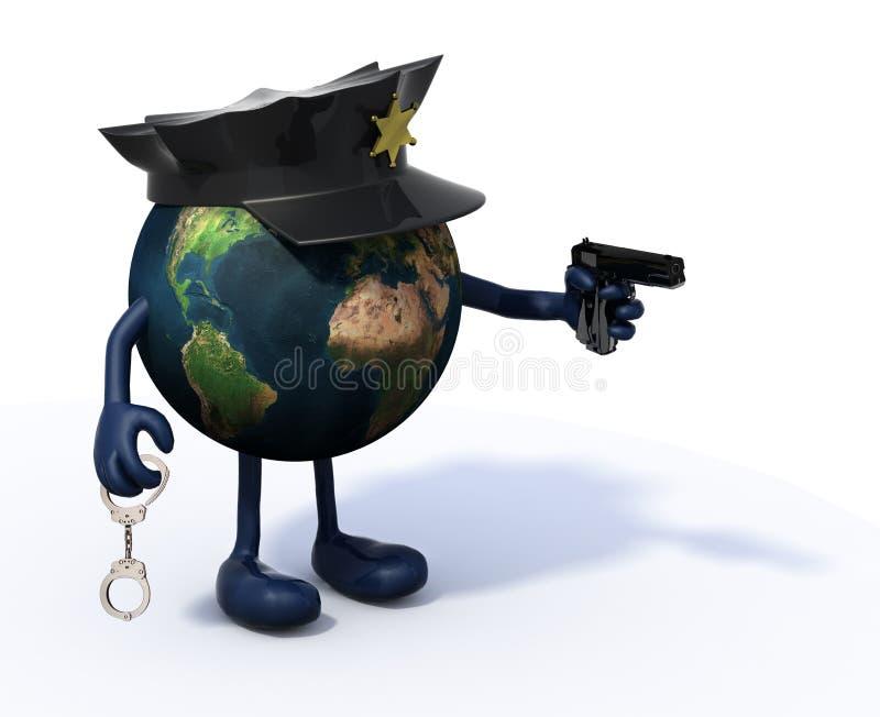Tierra con el poli y el arma de la policía a mano libre illustration