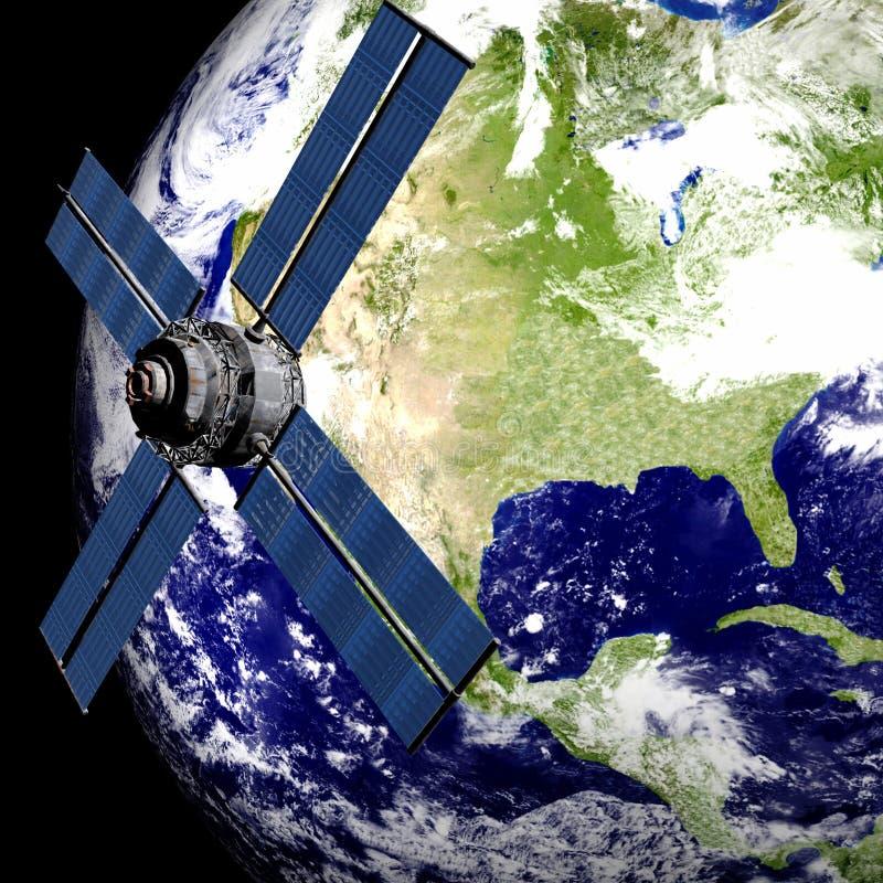 Tierra con el satélite libre illustration