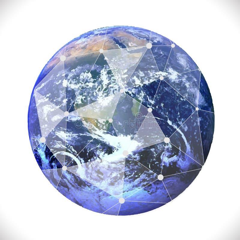 Tierra con la comunicación de la malla y el concepto de la tecnología libre illustration