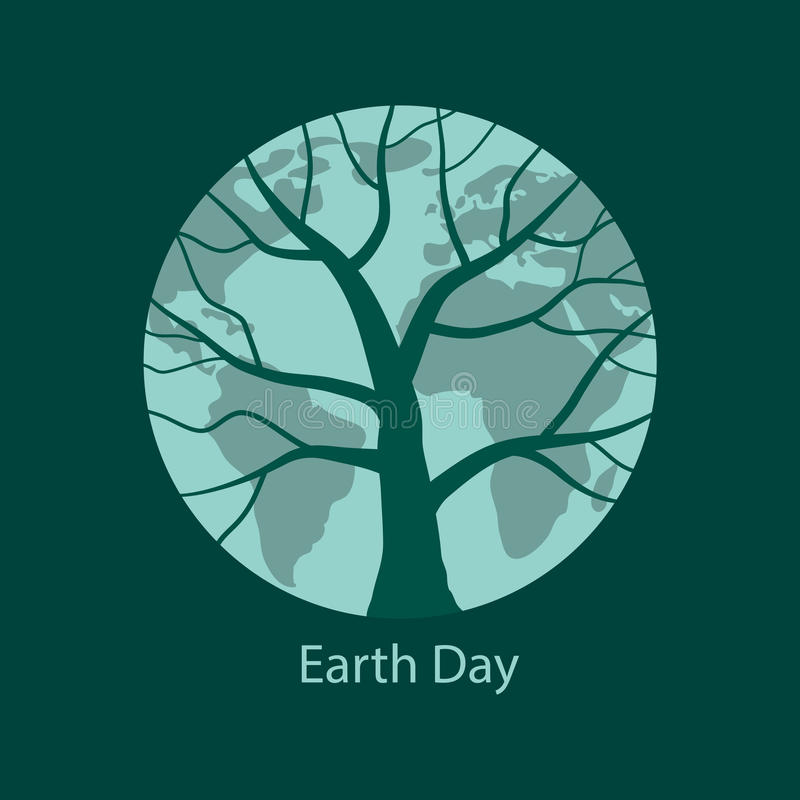 Tierra con la silueta del árbol en ella ilustración del vector