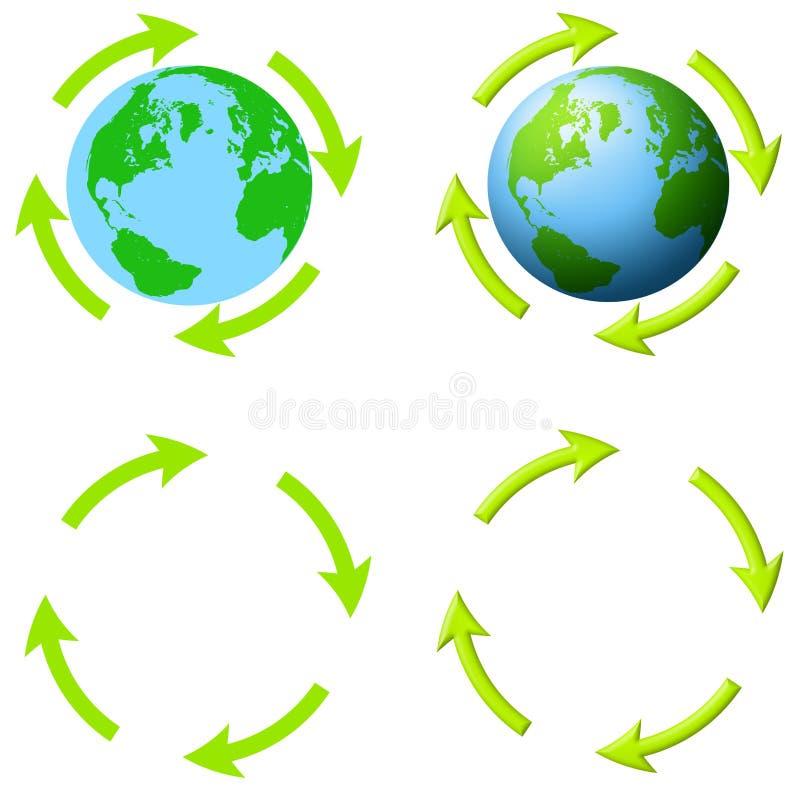 Tierra con las flechas y no ilustración del vector